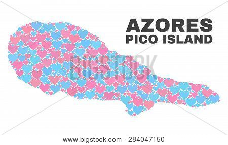 Mosaic Pico Island Map Of Valentine Hearts In Pink And Blue Colors Isolated On A White Background. L