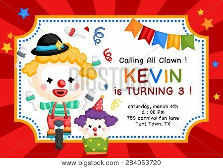 A Vector Of Cute Clown Juggling And Riding Monocycle For Kids Birthday Invitation