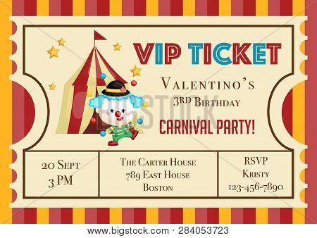 A Vector Of Cute Clown With Balls In Front Of Circus Tent For Kids Birthday Invitation