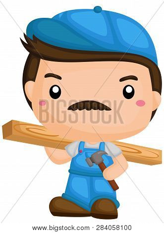 A Vector Of A Carpenter Working With Tools