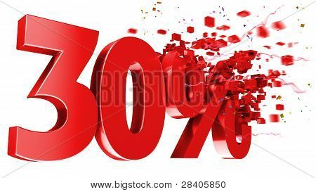 Explosive 30 Percent Off On White Background