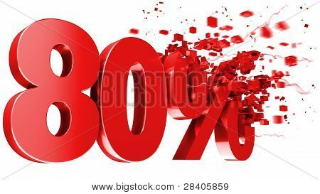 Explosive 80 Percent Off On White Background