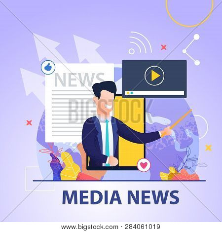 Square Flat Banner Media News On Blue Background. Smiling Man In Business Suit On Background Smartph