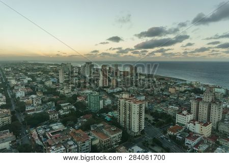 Beautiful Aerial Panoramic View Of Buildings Of Habana, Cuba. From Drone