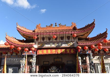 LOS ANGELES - FEBRUARY 9, 2019: Thien Hau Temple is a temple dedicated to the Chinese sea goddess Mazu, the deified form of the medieval Hokkien girl Lin Moniang.