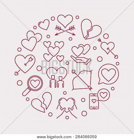 Lovesickness Vector Round Illustration In Thin Line Style