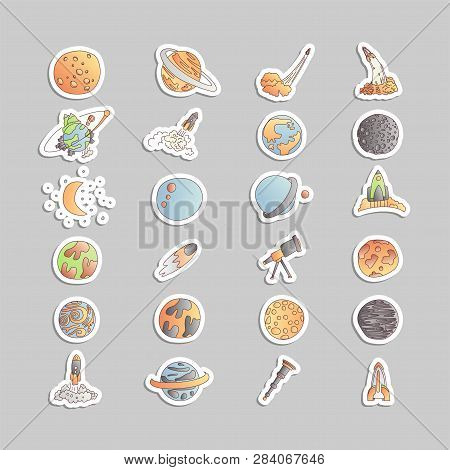 Cute Cartoon Space Asrtonaut Cosmos Vector Icon Collection. Planet, Rocket, Observatory Icons In One