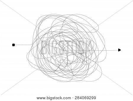 Insane Messy Line. Complicated Clew Way. Tangled Scribble Vector Path. Chaotic Difficult Process. Ve