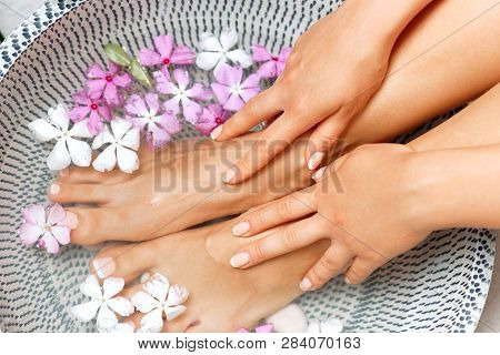 Spa Treatment And Product For Female Feet And Foot Spa. Foot Bath In Bowl With Tropical Flowers, Tha