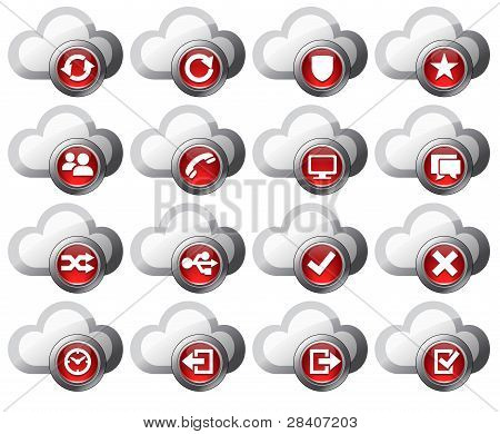 Virtual Cloud Icons Set 2 Red