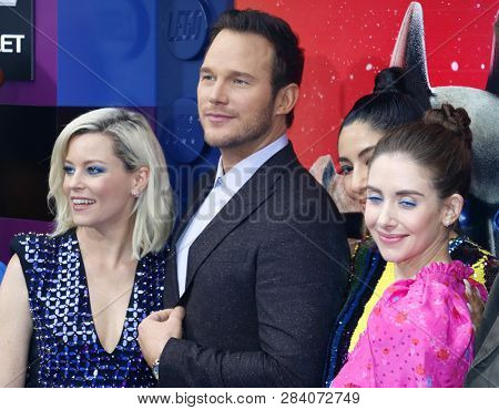Chris Pratt, Alison Brie, Stephanie Beatriz and Elizabeth Banks at the Los Angeles premiere of 'The Lego Movie 2: The Second Part' held at the Regency Theatre in Westwood, USA on February 2, 2019.