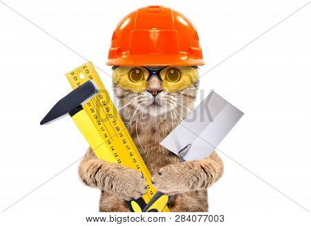 Portrait Of A Builder Cat With Tools In  Paws Isolated On White Background