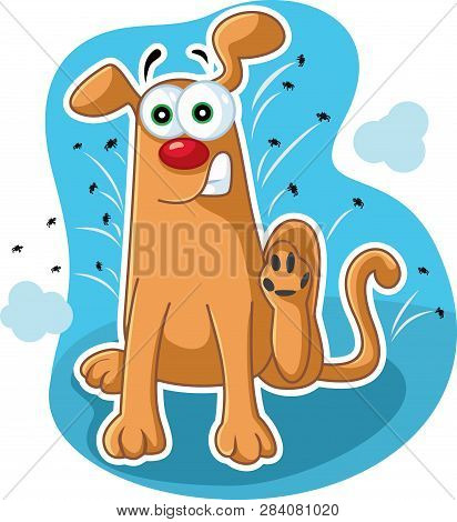 Funny Dog Itching And Scratching Fleas Vector Cartoon