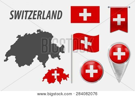 Switzerland. Collection Of Symbols In Colors National Flag On Various Objects Isolated On White Back