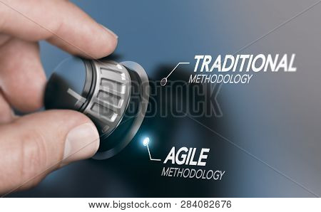 Man Turning Knob To Changing Project Management Methodology From Traditional To Agile Pm. Composite