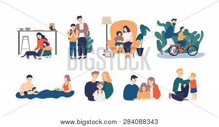 Bundle Of Happy Loving Family Scenes. Good Parenting And Nurturing. Care, Trust And Support Between