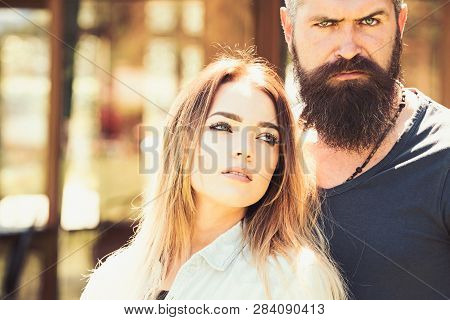 Always Side By Side. Sexy Woman And Bearded Man In Love Relations. Couple In Love Of Pretty Woman An