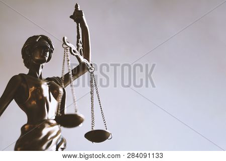 Lady Justice Or Justitia - Blindfolded Figurine Holding Balance Scales - Law Jurisprudence And Impar