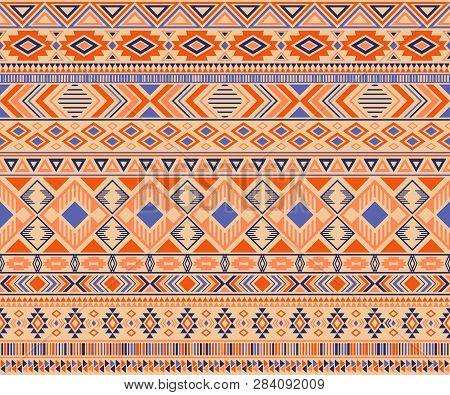 Peruvian American Indian Pattern Tribal Ethnic Motifs Geometric Vector Background. Unusual Native Am