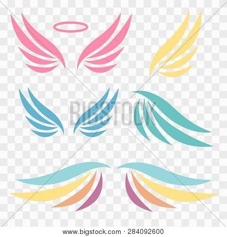 Wings Logotype Set. Bird Wing Or Winged Logo Design. Bird Wings Vector Logo. Vector Angel Winged Lab