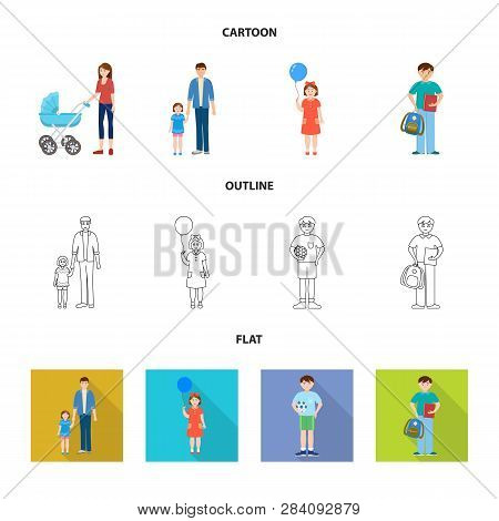 Vector Design Of Character And Avatar  Sign. Collection Of Character And Portrait Stock Symbol For W