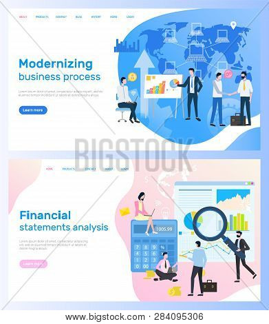 Modernizing Business Process And Financial Statements Analysis Vector. Graphics And Diagram, Calcula