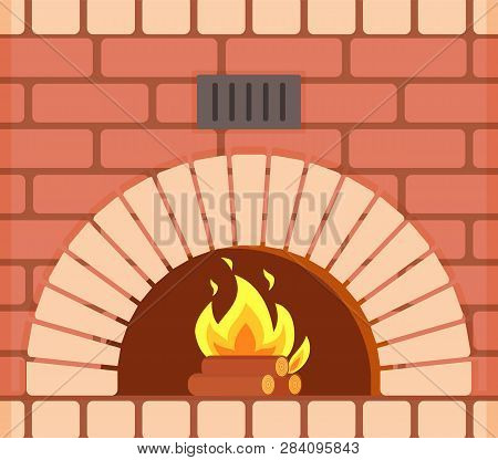 Fireplace With Fire Burning Inside Brick Arch, Vector Closeup. Decoration Of Home Interior And Furni