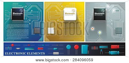 Flat Electronic Colorful Composition With Electric Circuit Boards Diodes Transistors Capacitors And