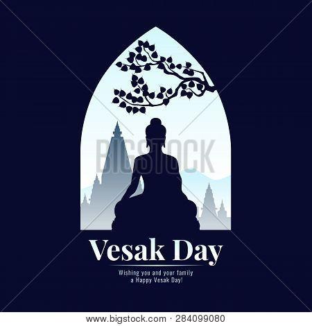 Vesak Day Banner With Silhouette Buddha Statue Sign In Window View Vector Design