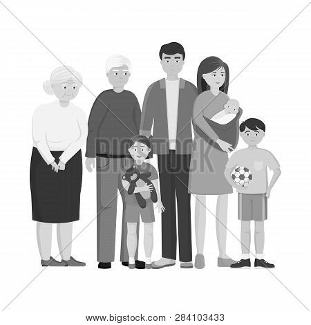 Isolated Object Of Relatives And Dad Symbol. Set Of Relatives And Grandpa Stock Symbol For Web.
