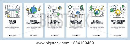 Web Site Onboarding Screens. Global Connection, Investment And Economy. Menu Vector Banner Template