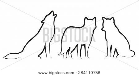 Set Of Wolf Dog Line Drawing Silhouette Vector Illustration Eps10