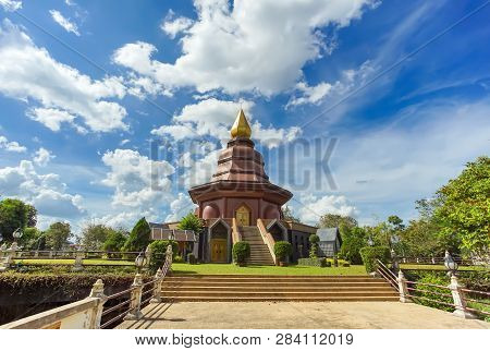 Sam Than Choa Khun Pagoda In Wat Pai Lom, Trad Province, Thailand.
