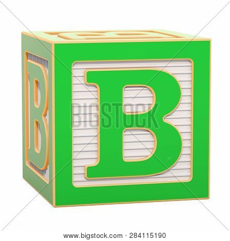 Abc Alphabet Wooden Block With B Letter. 3d Rendering Isolated On White Background