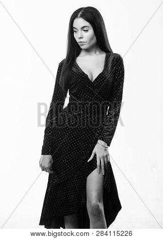 Girl Attractive Wear Sexy Elegant Dress. Fashion Concept. Woman Dress Polka Dot Pattern. Woman Elega