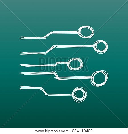 Hand Drawn Circuit Board Icon. Doodle Scetch Technology Scheme Symbol Flat Vector Illustration On Gr
