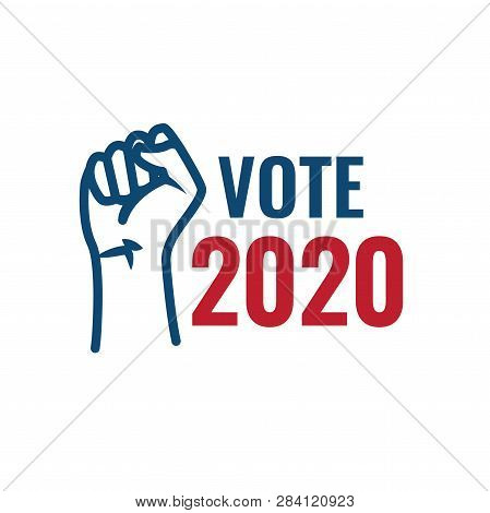 Voting 2020 Icon W Vote, Government, And Patriotic Symbolism And Colors