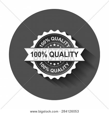 100 Quality Grunge Rubber Stamp. Vector Illustration With Long Shadow. Business Concept 100 Percent