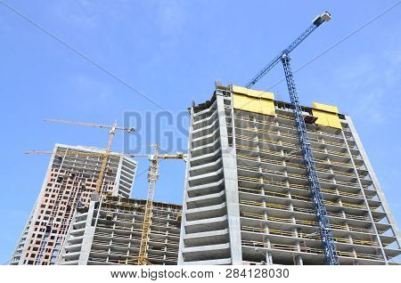 Construction Site. High Rise Multi Storey Buildings Under Construction