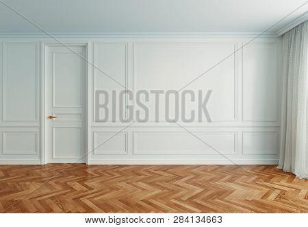 Empty Interior Room With Wooden Floor, 3d Rendering