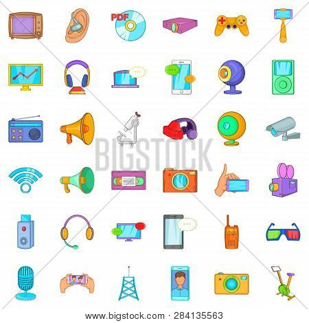 Electronic Gadget Icons Set. Cartoon Style Of 36 Electronic Gadget Icons For Web Isolated On White B