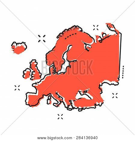 Cartoon Europe Map Icon In Comic Style. Europe Illustration Pictogram. Country Geography Sign Splash