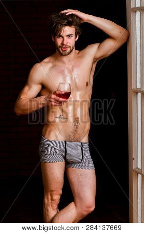 Bachelor Sexy Body. Sexy Attractive Macho Tousled Hair Coming Out Through Bedroom Door. Sexy Lover C