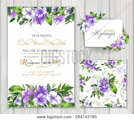 Set Of Vector Templates For Greetings Or Invitations To The Wedding And One Seamless Pattern With Pu