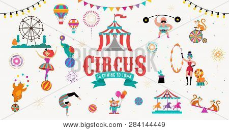Circus Banner And Background With Tent, Monkey, Air Balloons, Gymnastics, Elephant On Ball, Lion, Ju