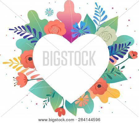 Big White Heart With Colorful Flowers In Background. Thank You And Birthday Card, Mother S Day Greet