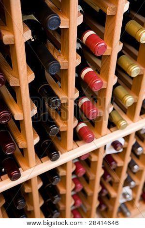 Looking Down on Wine Bottles In Cellar