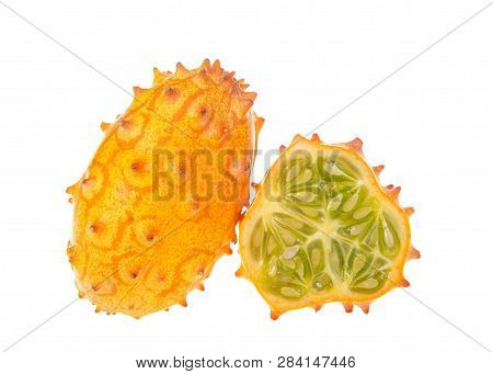 Kiwano Fruit, Also Known As Cucumis Metuliferus, Horned Melon, Or African Horned Cucumber Isolated O
