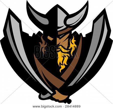 Cartoon Nordic Viking or Barbarian Vector Mascot wearing a horned Helmet poster