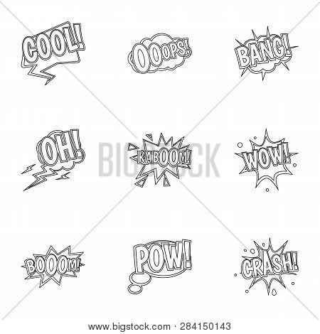 Youth Slang Icons Set. Outline Set Of 9 Youth Slang Icons For Web Isolated On White Background
